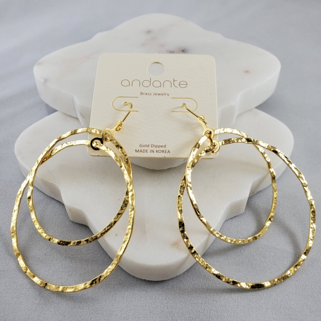 Adante Double Loop Gold Dipped Earring