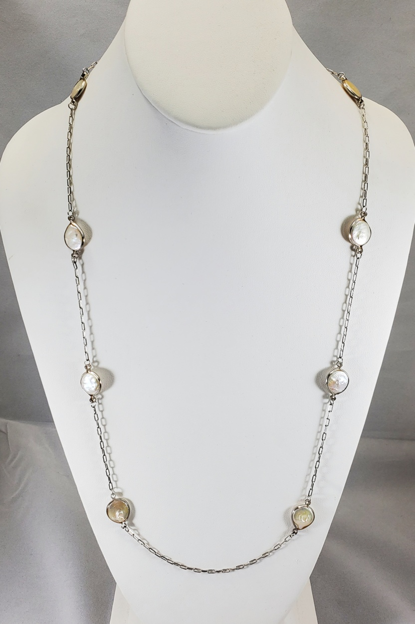 Dorothy Pearl Beaded Silver Necklace