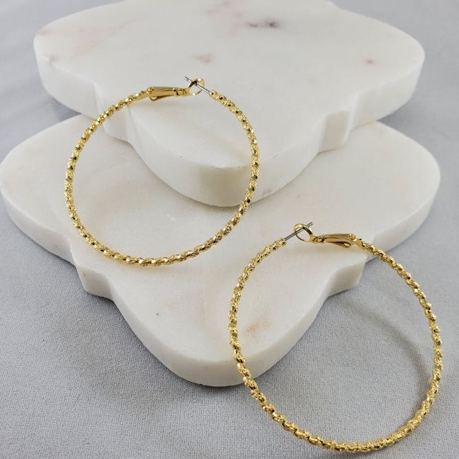 Andante Gold Dipped Large Loop Earrings