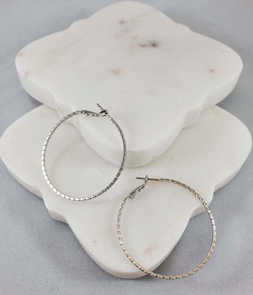 Andante White Gold Dipped Brass Loop Earring