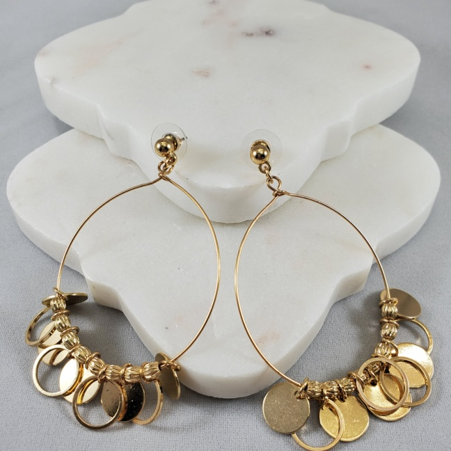 Pannee Gold Wire Loop with Discs/Rings/Beads Earrings