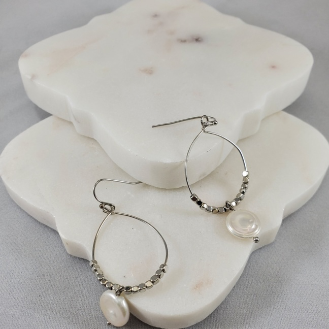 Dorothy Pewter Wide Teardrop Earrings with Pearl