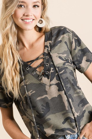 Camouflage French Terry V-Neck Top with Lace-Up Detail