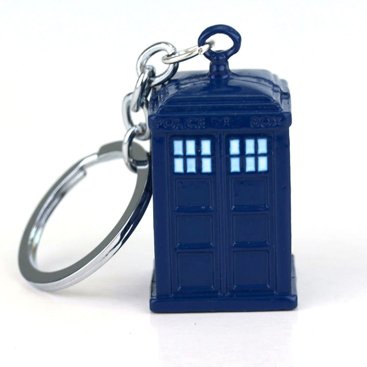 doctor who tardis solid metal keychain front