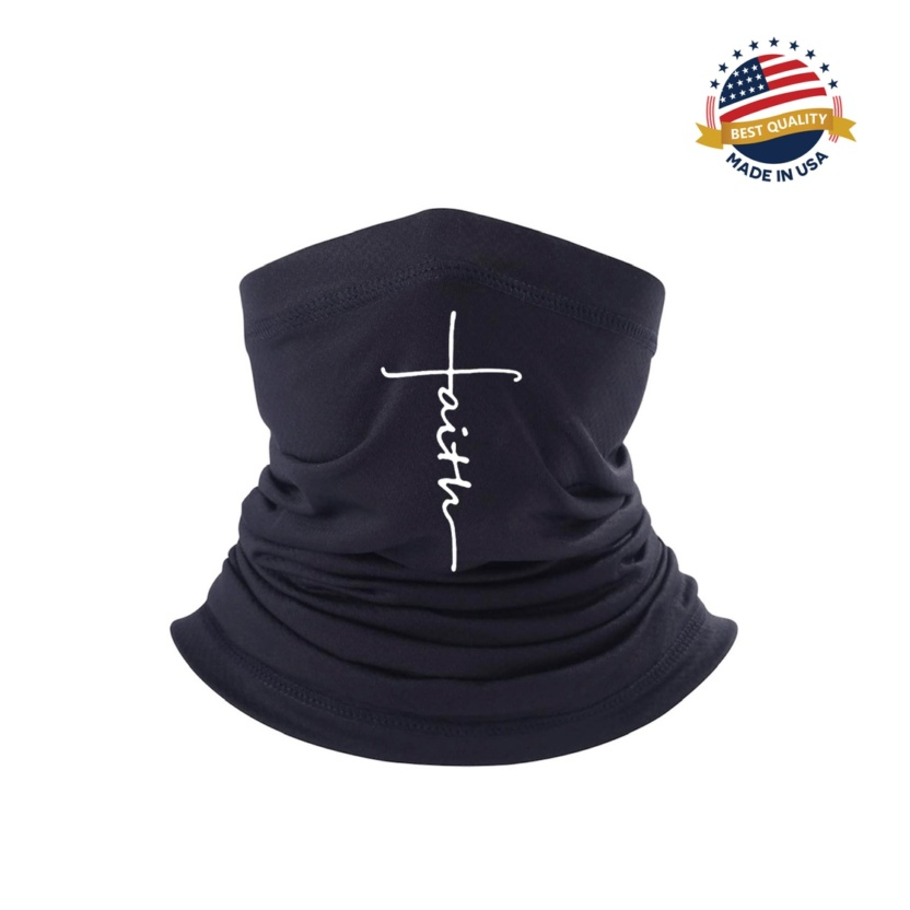 "Faith-based ""Faith"" neck-gaiter scarf face mask 2"