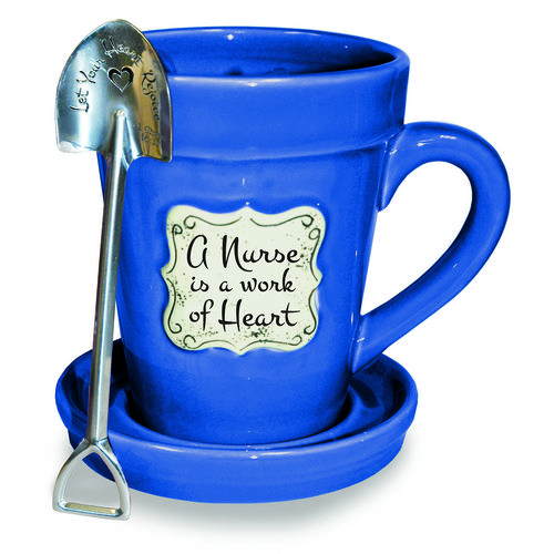 Flower pot mugs with faith-based verses/phrases Blue