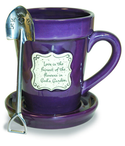 Flower pot mugs with faith-based verses/phrases Purple