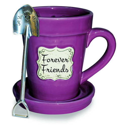 Flower pot mugs with faith-based verses/phrases Raspberry