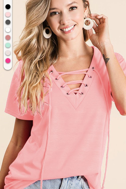 French Terry V-Neck Top with Lace Up Detail Blush