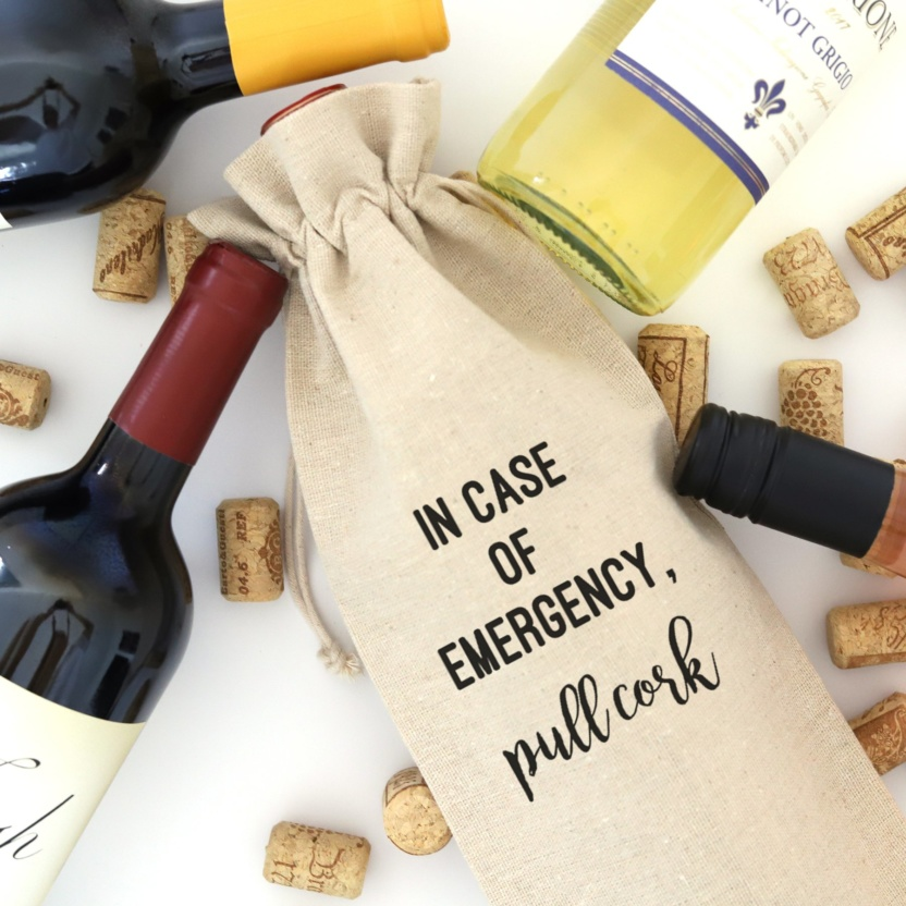 In Case of Emergency Wine Bag with Tie