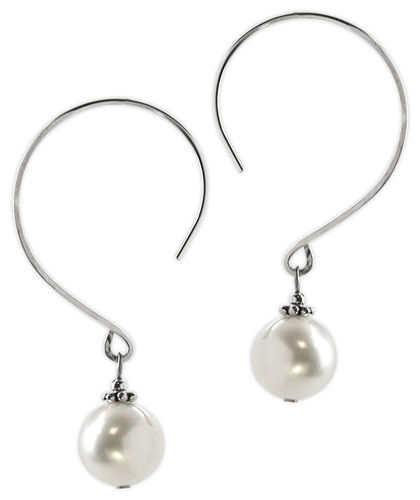 Jody Coyote Sonata - White Pearl Large hoop earrings