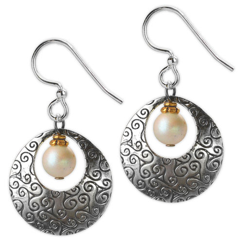 Jody Coyote Etched in Time - Silver open circle with white bead earrings
