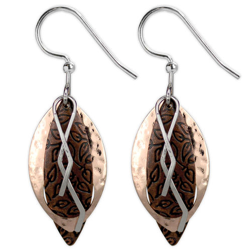 Jody Coyote Mod Grooves - Rose gold copper teardrop with leaf and squiggle earrings