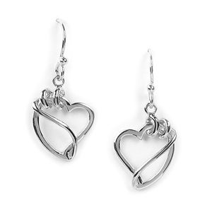Jody Coyote Wilder Hearts Curling Ribbon Heart Rhodium Earrings