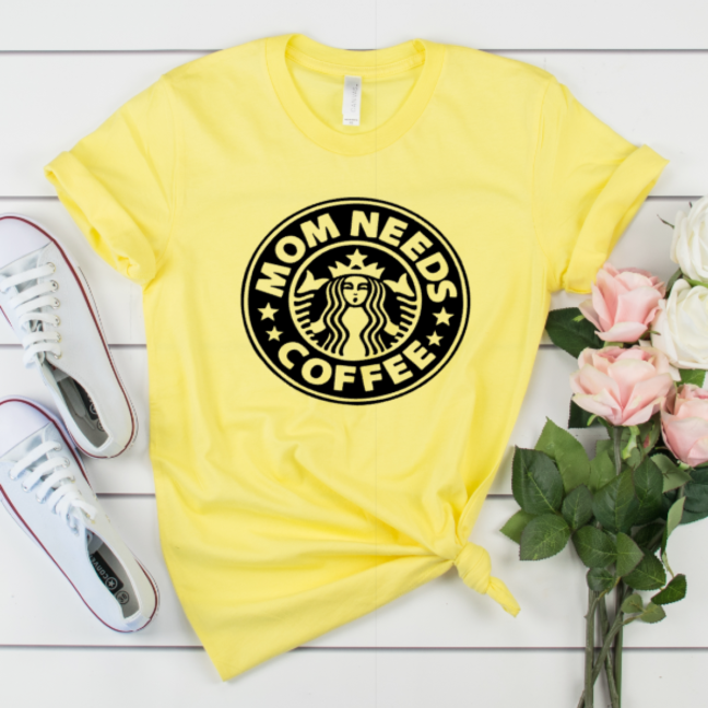 Mom Needs Coffee T-shirt on Soft, Hi-Quality Bella Canvas Tee Yellow