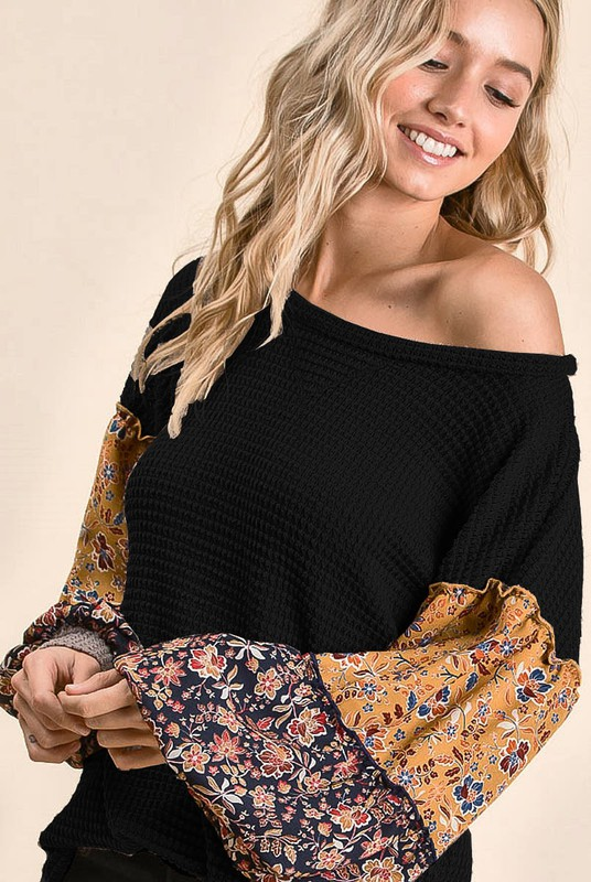 Popcorn Waffle Top with Floral Print Color Block Puff Sleeves  Black