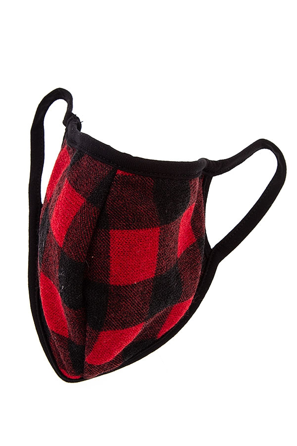 Red and Black Checked Face Mask