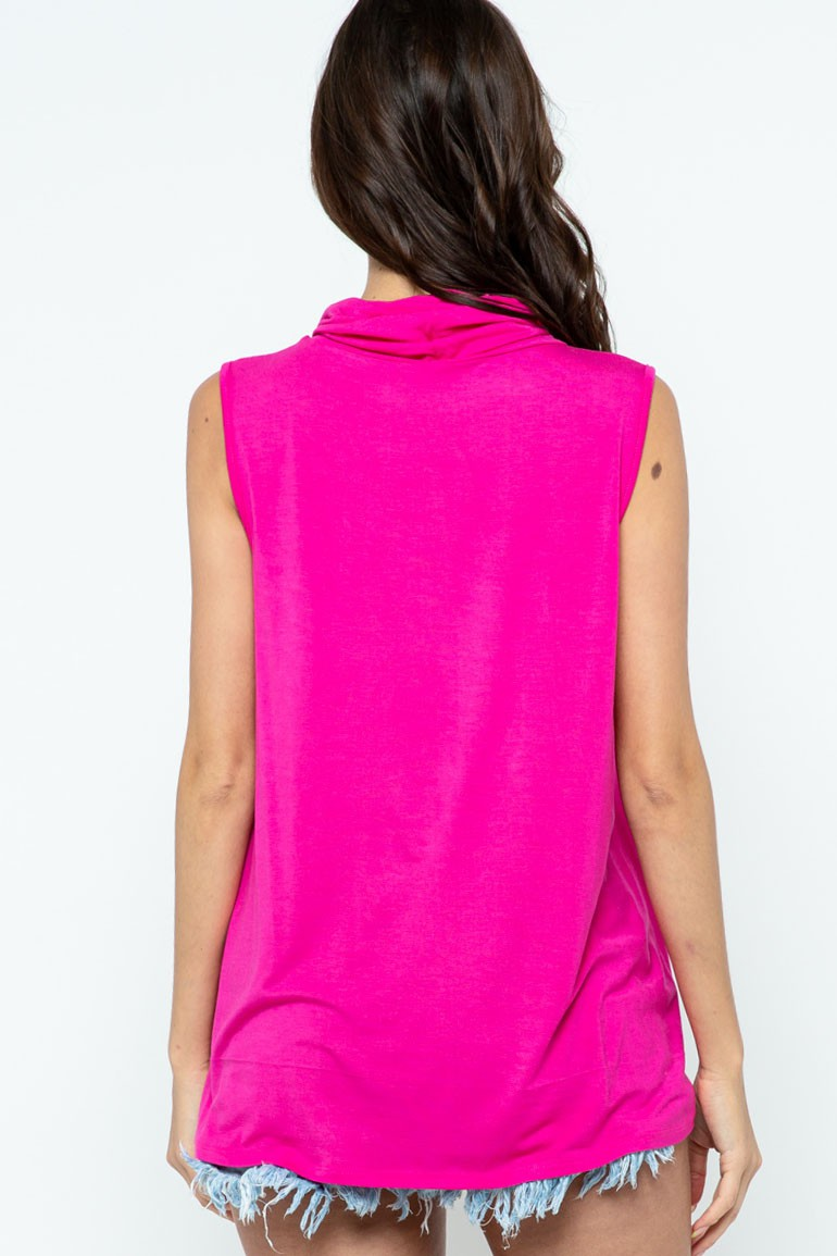 Sleeveless Jersey Knit Top with Cowl Neck and Built-in Face Mask fuchsia back