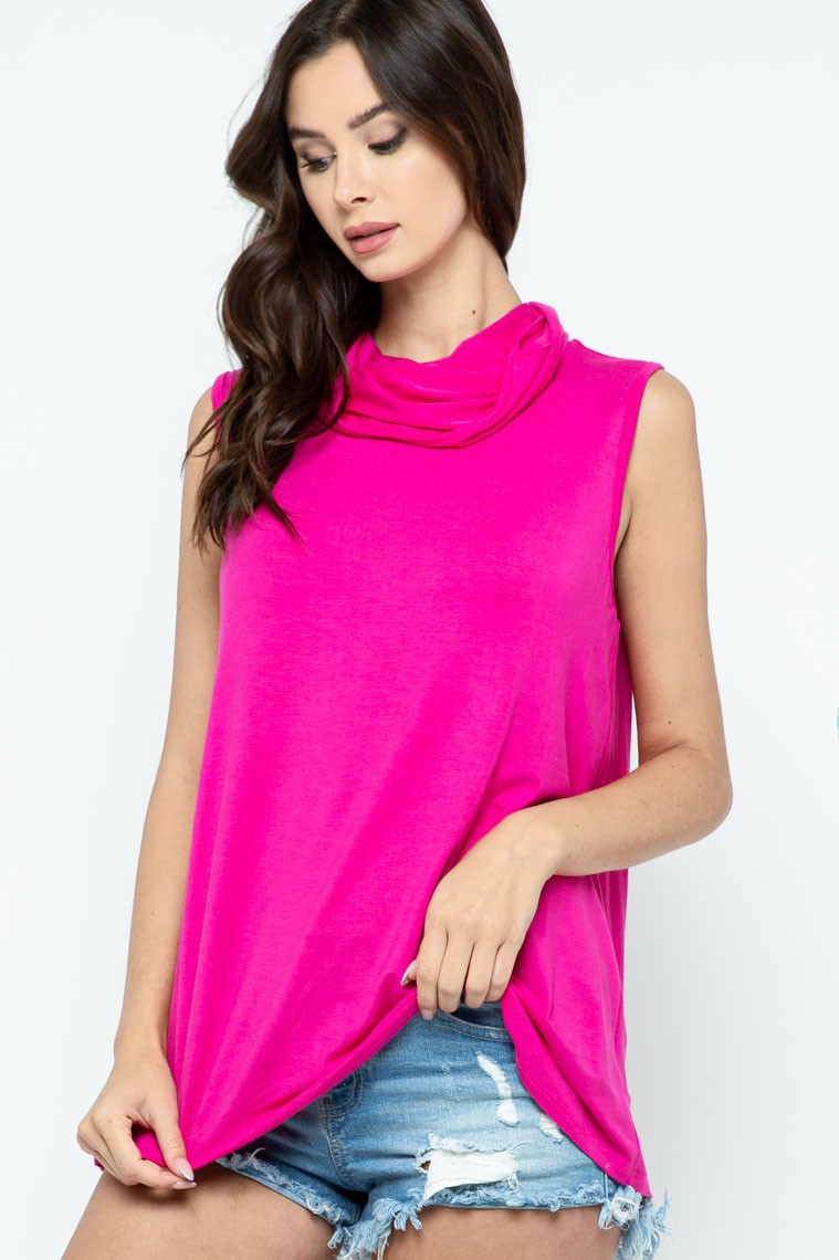 Sleeveless Jersey Knit Top with Cowl Neck and Built-in Face Mask - Fuchsia