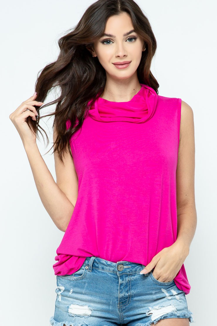 Sleeveless Jersey Knit Top with Cowl Neck and Built-in Face Mask fuchsia hair