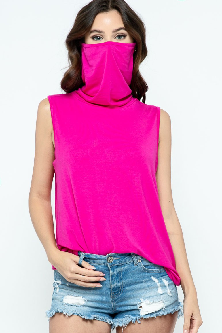 Sleeveless Jersey Knit Top with Cowl Neck and Built-in Face Mask fuchsia mask up 2