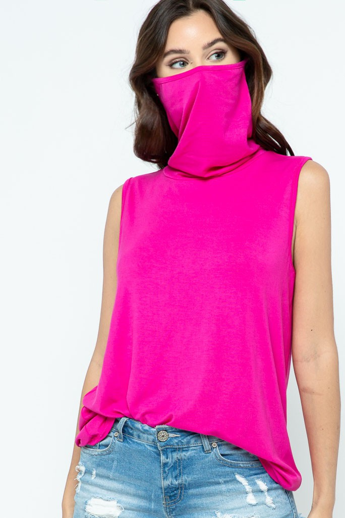 Sleeveless Jersey Knit Top with Cowl Neck and Built-in Face Mask fuchsia mask up