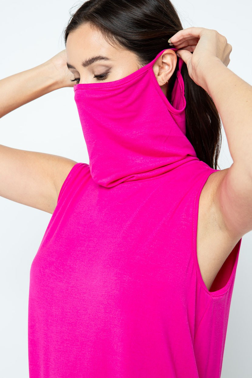 Sleeveless Jersey Knit Top with Cowl Neck and Built-in Face Mask fuchsia over ear
