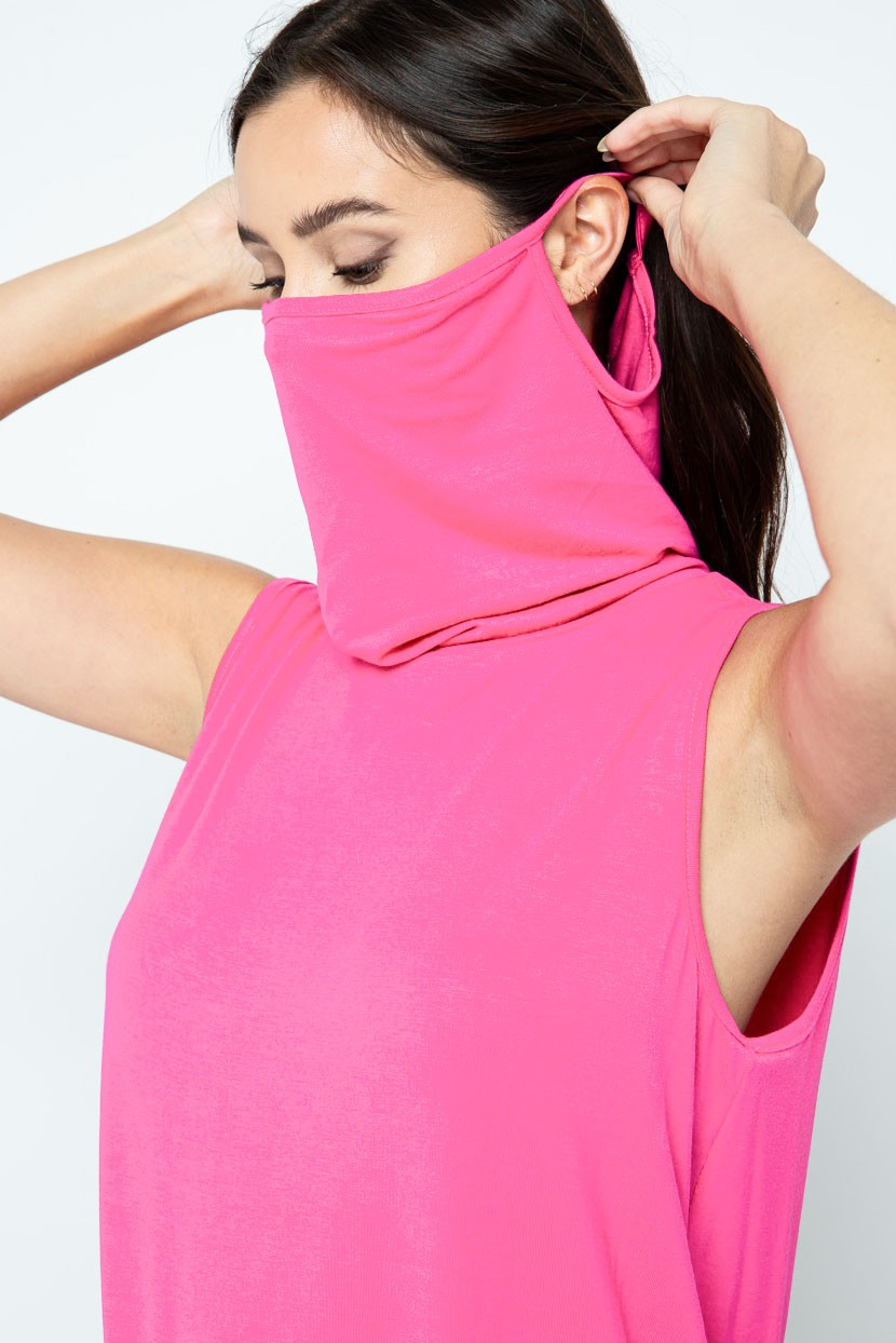 Sleeveless Jersey Knit Top with Cowl Neck and Built-in Face Mask neon pink