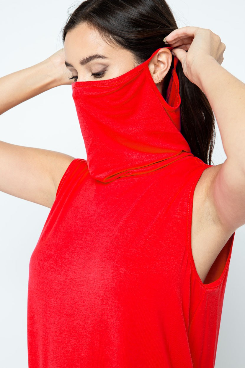 Sleeveless Jersey Knit Top with Cowl Neck and Built-in Face Mask red