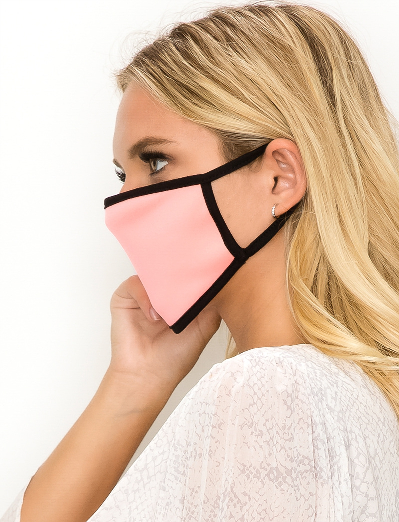 Solid colored face mask light pink side