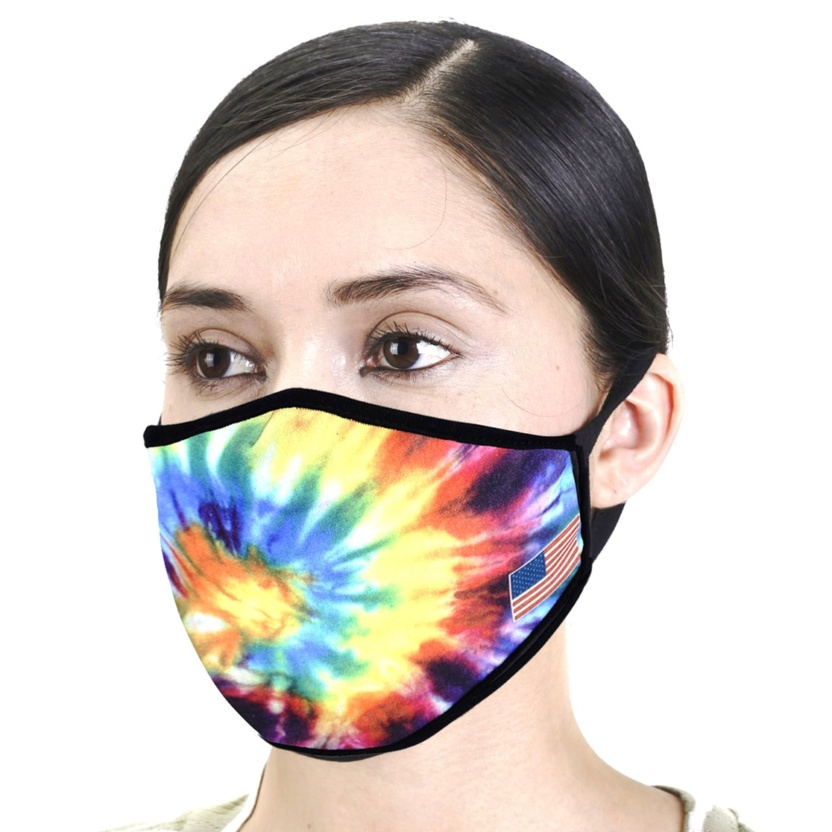 Tie Dye Face Mask with American Flag