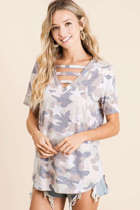 Vintage Camouflage Star Print V-Neck Top with strapped front neck detail casual