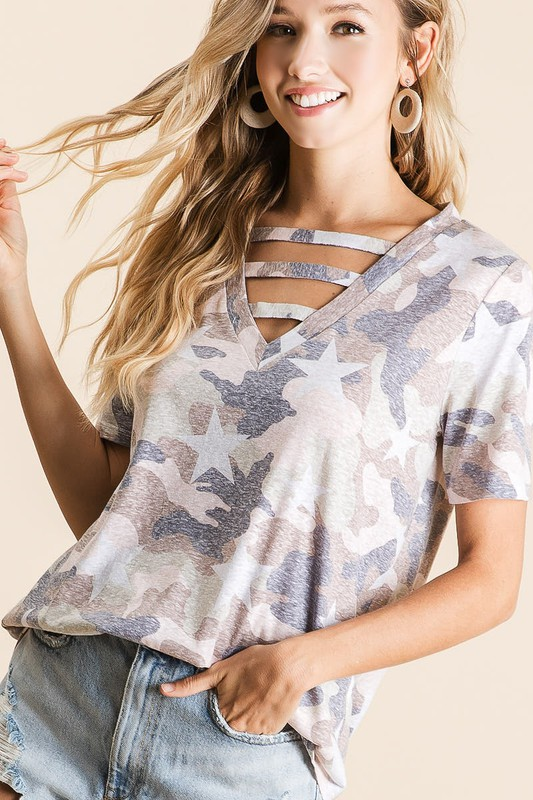 Vintage Camouflage Star Print V-Neck Top with strapped front neck detail front close