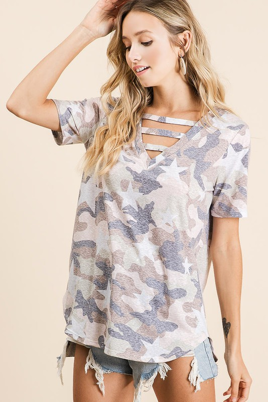 Vintage Camouflage Star Print V-Neck Top with strapped front neck detail side 2