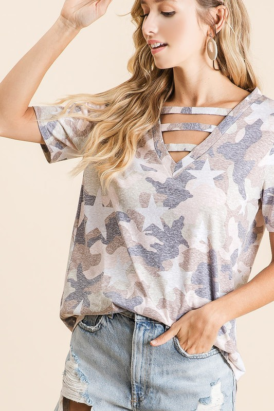 Vintage Camouflage Star Print V-Neck Top with strapped front neck detail side