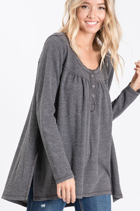 Washed Thermal with Buttoned Front Placket and Gathered Back Charcoal 3