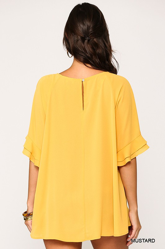 Bubble Crepe Ruffle Detail Top with Back Keyhole mustard back