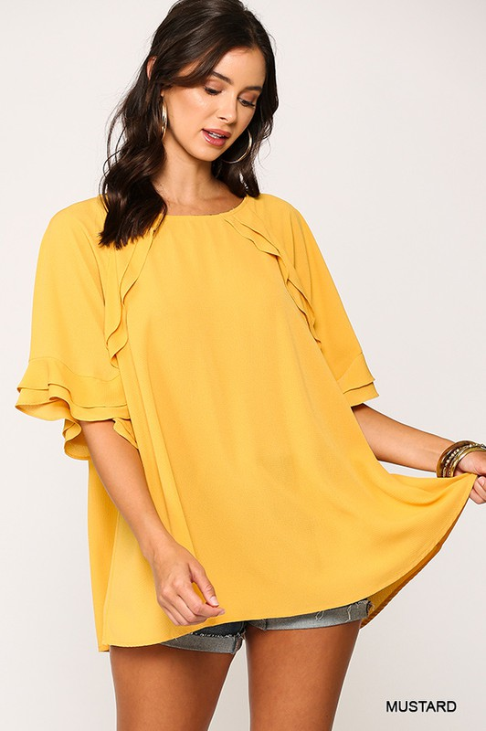 Bubble Crepe Ruffle Detail Top with Back Keyhole mustard full