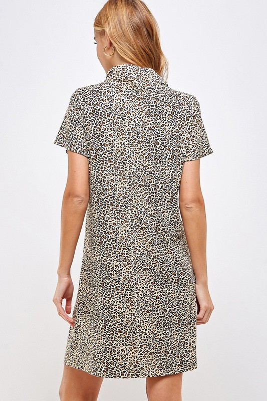 Fitted Leopard Print Turtle Neck Essential Dress with Built-in Face Mask Brown Back