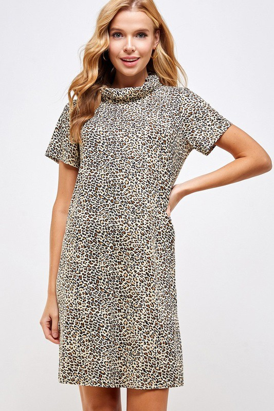 Fitted Leopard Print Turtle Neck Essential Dress with Built-in Face Mask Brown Front