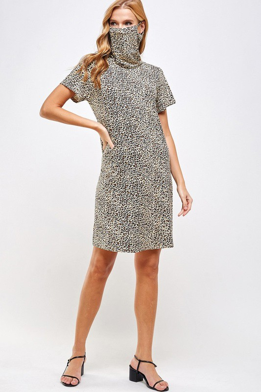 Fitted Leopard Print Turtle Neck Essential Dress with Built-in Face Mask Brown Full