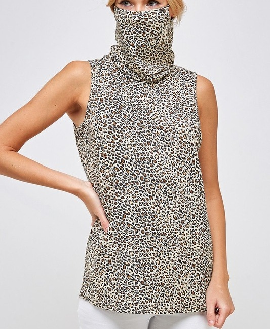 Fitted Leopard Print Turtle Neck Essential Dress with Built-in Face Mask Brown Mask Up