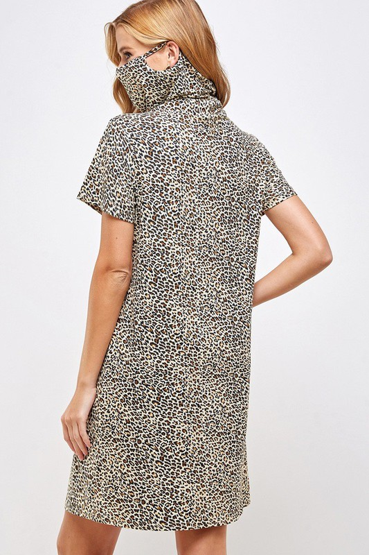 Fitted Leopard Print Turtle Neck Essential Dress with Built-in Face Mask Brown Mask Up Back