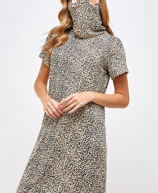 Fitted Leopard Print Turtle Neck Essential Dress with Built-in Face Mask Brown Mask Up Side