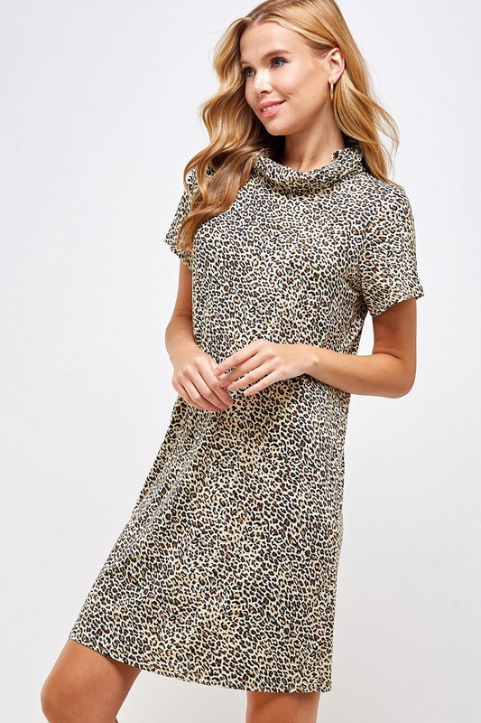 Fitted Leopard Print Turtle Neck Essential Dress with Built-in Face Mask Brown Side