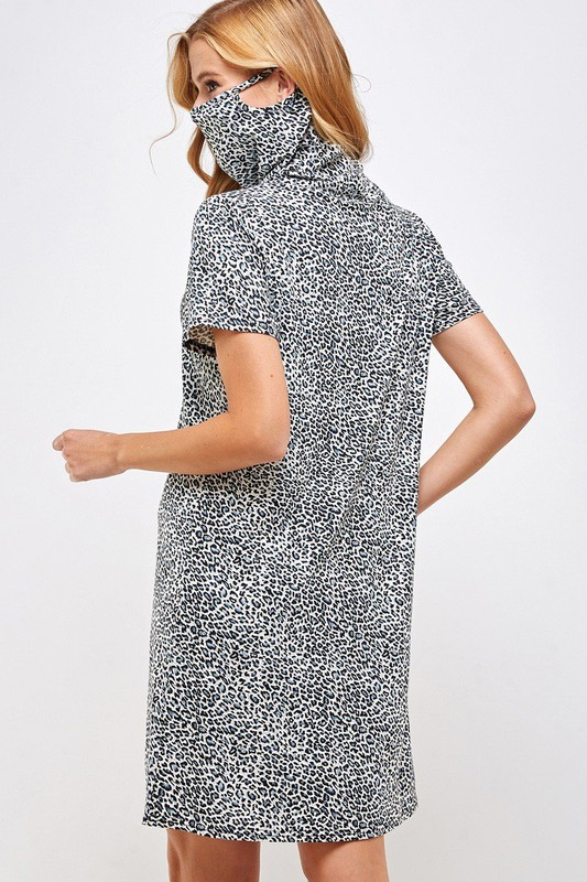 Fitted Leopard Print Turtle Neck Essential Dress with Built-in Face Mask Gray Back