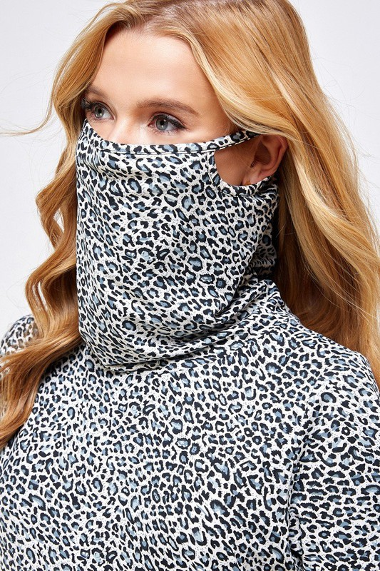 Fitted Leopard Print Turtle Neck Essential Dress with Built-in Face Mask Gray Close