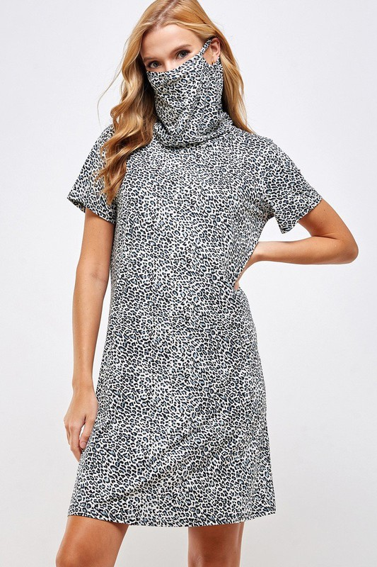 Fitted Leopard Print Turtle Neck Essential Dress with Built-in Face Mask Gray Front