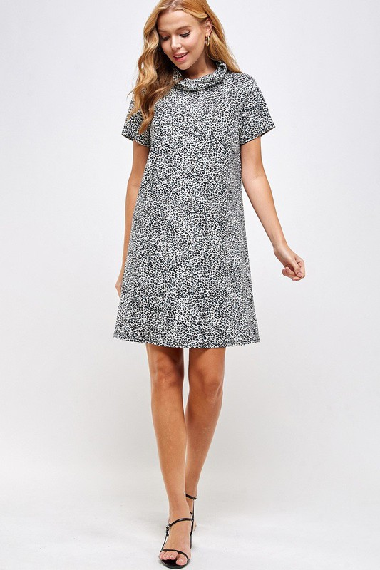 Fitted Leopard Print Turtle Neck Essential Dress with Built-in Face Mask Gray Full