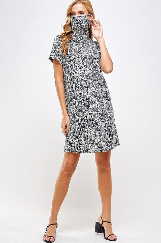 Fitted Leopard Print Turtle Neck Essential Dress with Built-in Face Mask Gray Mask Up Full